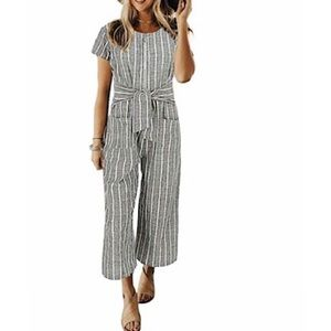 🆕 Linen Short Sleeves Wide Leg Palazzo Jumpsuit